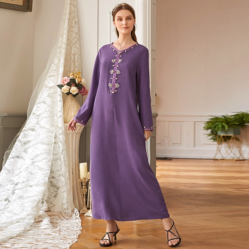 New Muslim Islamic Turkey Oman Hooded Robe Purple Selvedge Hand-sewn Diamond V-Neck Moroccan Ramadan Dress Retro Dubai Kimono