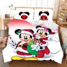 Mickey Minnie noël père noël parure de lit housse de couette enfants parure de lit reine roi Siz cadeau cauchemar avant noël