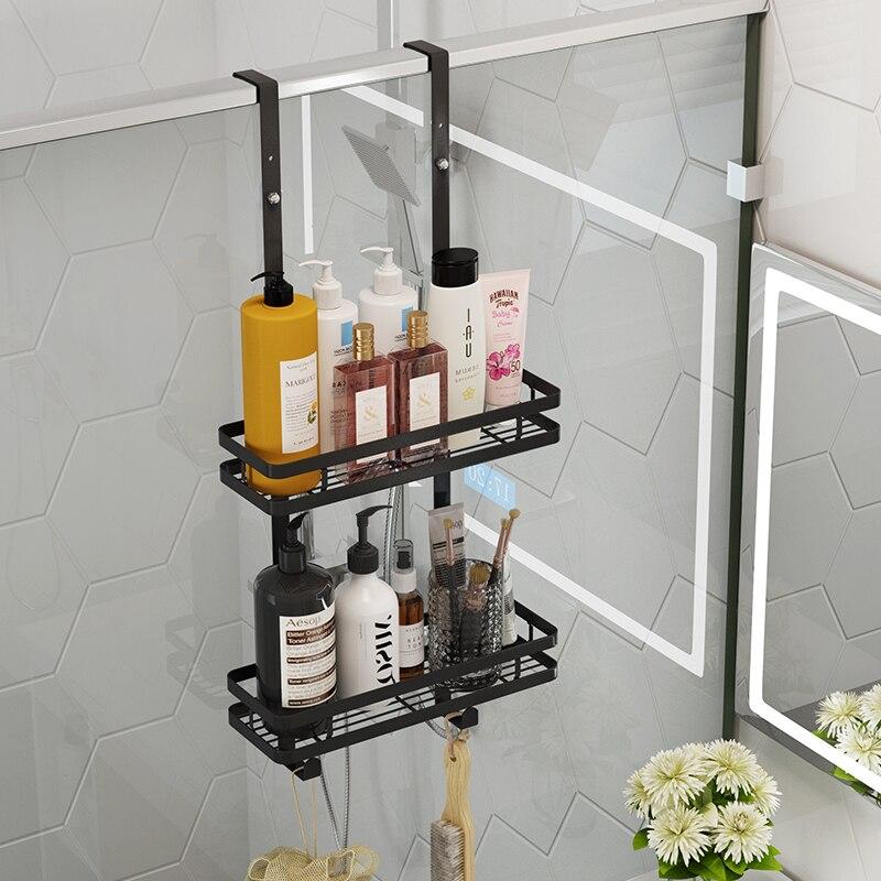 رف تخزين هلام الاستحمام ، سلة معلقة من الفولاذ المقاوم للصدأ ، للتثبيت على الحائط ، للاستحمام ، في غرفة الاستحمام ، في الباب الخلفي