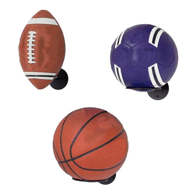 1PC Wall-Mounted Ball Holders Display Racks for Basketball Soccer Football Volleyball Exercise Ball Black Home Organizer Rack 4