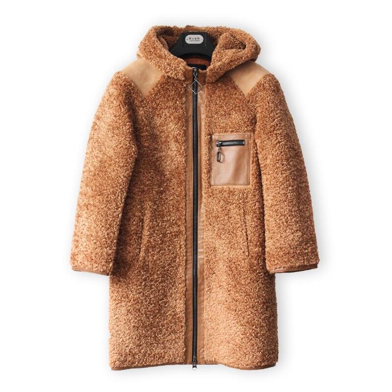 RUGEGE mujeres Cordero grueso cálido largo Teddy abrigo de giro-abajo Collar de señora de la Oficina de doble botonadura Camel suelto prendas de vestir exteriores