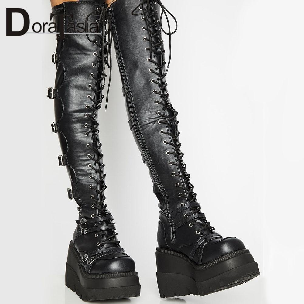 العلامة التجارية تصميم الإناث عالية منصة الفخذ أحذية عالية مشبك أنيق فاسق عالية الكعب أحذية النساء تأثيري أسافين أحذية امرأة