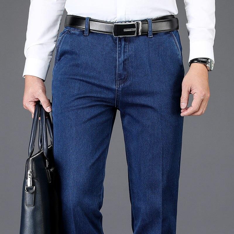 بنطلون جينز كلاسيكي عالي الخصر للرجال ، ملابس غير رسمية للعمل ، جينز ، بنطلون مستقيم ، قابل للتمدد ، 2021