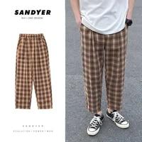 summer thin section plaid pants mens fashion retro cotton straight pants men streetwear loose elastic waist casual pants m 5xl