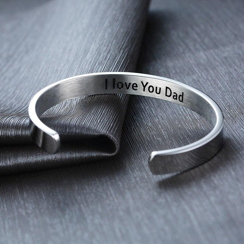 Браслеты-манжеты ZORCVENS New DAD = POWER I Love You Dad, браслеты из нержавеющей стали в тон, подарки для папы