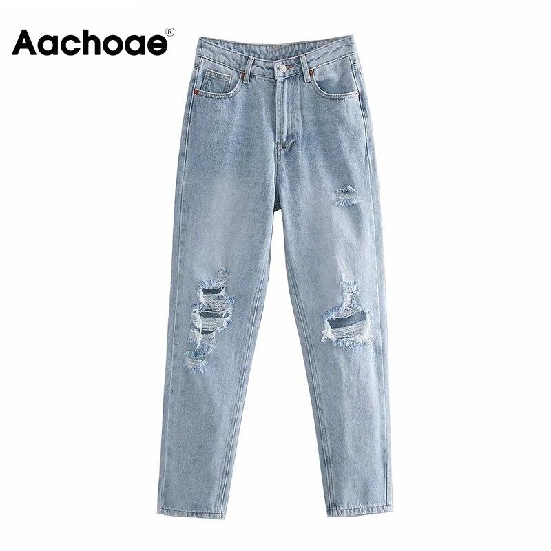 بنطلون جينز نسائي ممزق بفتحات ملابس الشارع الشهير من Aachoae موضة 2020 100٪ قطن أزرق فاتح كاوبوي بنطلون جينز نسائي أنيق