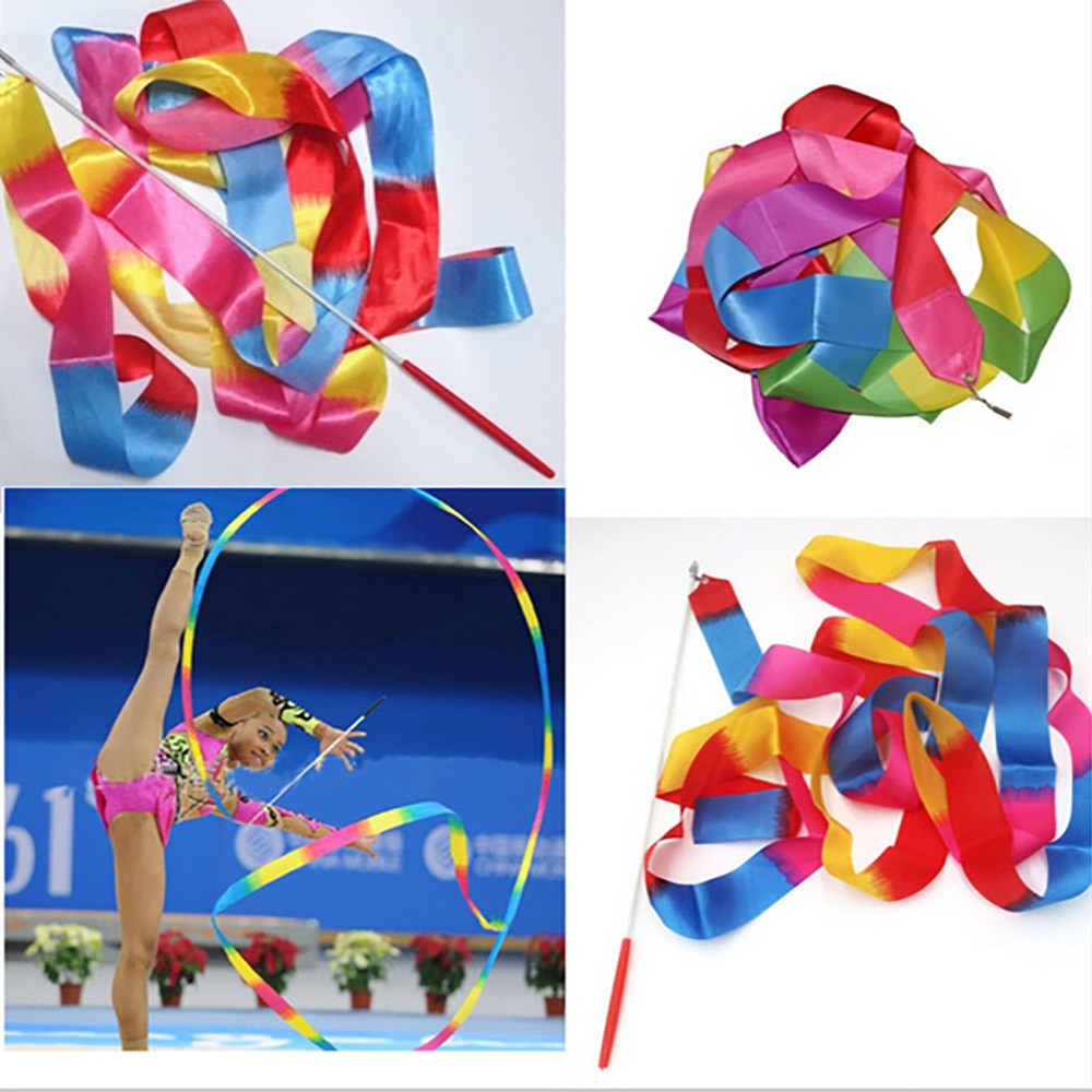Fitas de ginástica rítmica 4 metros com fitas ginásio dança fita rítmica arte ginástica ballet streamer giratório haste