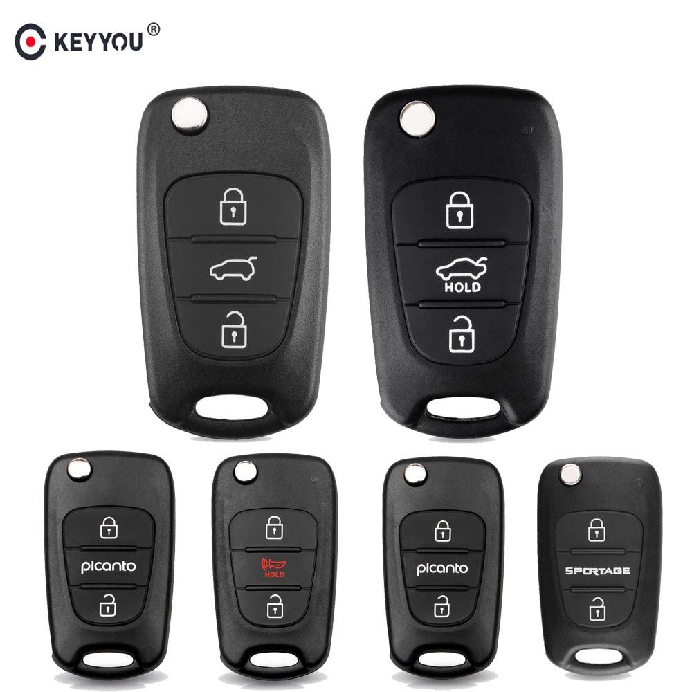 KEYYOU For Kia Rio 3 Picanto Soul Ceed Cerato Sportage K2 K3 K5 3 Buttons Flip Folding Remote Auto Car Key Shell Blanks Case