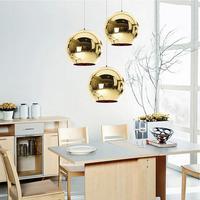 Globe LED Pendant Lights Copper Glass Mirror Ball Hanging Lamp Kitchen Modern Lighting Fixtures Hanging Light AC 90-260V