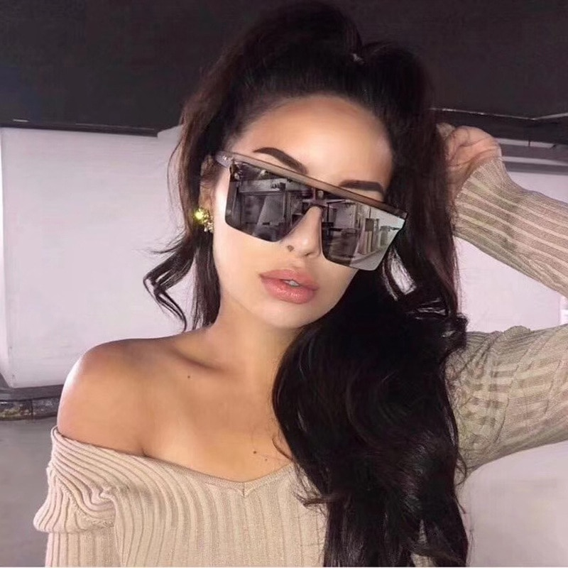 New Black Square Sunglasses Women Big Frame Fashion Retro Mirror Sun Glasses Female Brand Vintage La