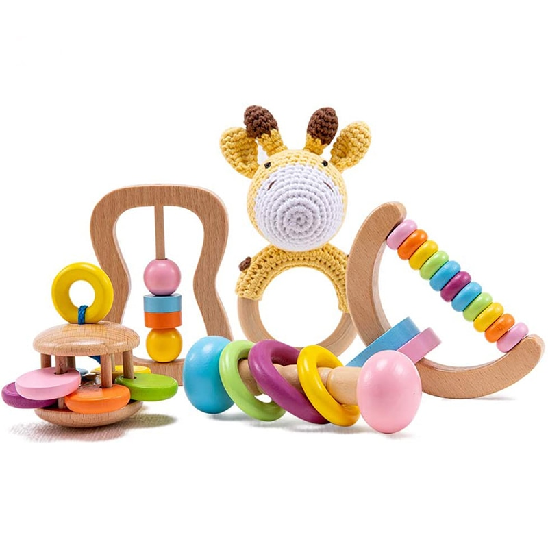 Игрушки из органического безопасный, деревянный, детские игрушки для малышей, связанная крючком погремушка Браслет «сделай сам», набор для ...