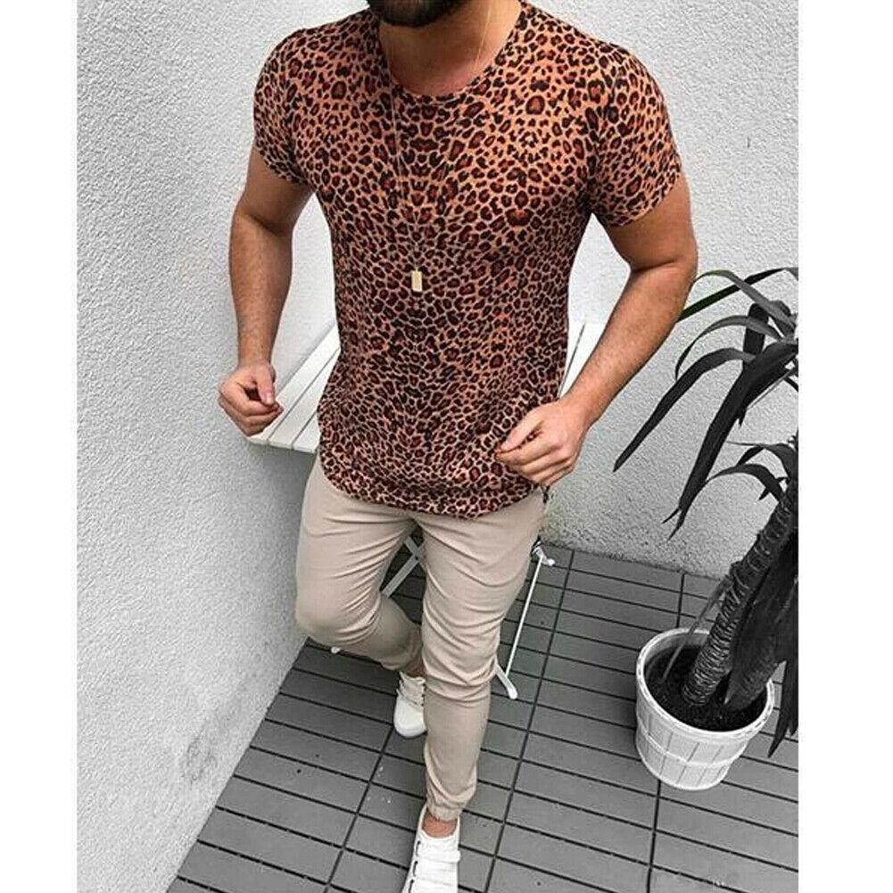 Новая модная мужская футболка с леопардовым принтом, облегающий топ для бега с коротким рукавом и принтом в стиле бохо, повседневная одежда для бодибилдинга