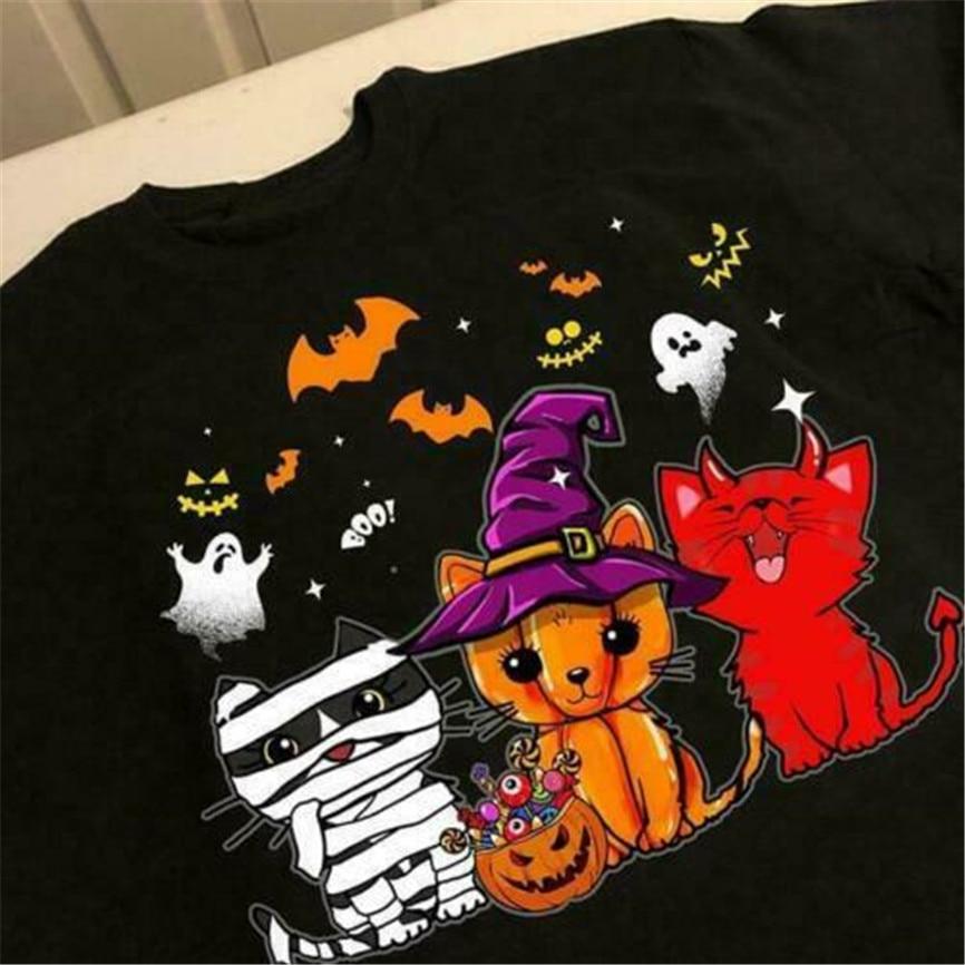 Gato feliz Halloween hombres camiseta algodón S-6Xl Cool Tops camiseta