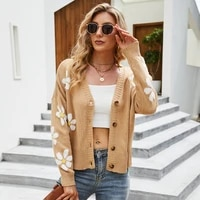 women autumn winter knitted cardigans sweater fashion casual loose v neck button flower pattern long sleeve coat female tops