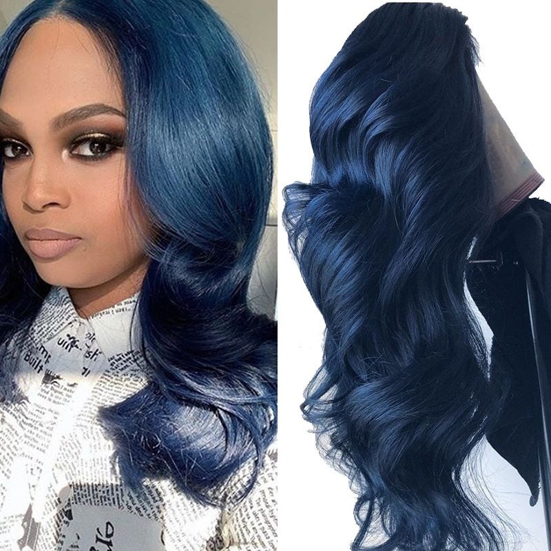 Blue Colored Lace Front Human Hair Wig Loose Deep For Black Women Preplucked High Pony Tial