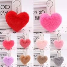 10CM mignon moelleux coeur porte-clés femmes Simulation lapin fourrure porte-clés fille sac accrocher voiture porte-clés bijoux accessoires
