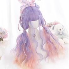 Parrucca mista rosa viola ondulata lunga WTB con frangia d'aria parrucche sintetiche blu Ombre per donne nere bianche parrucca quotidiana Cosplay/Lolita Sexy