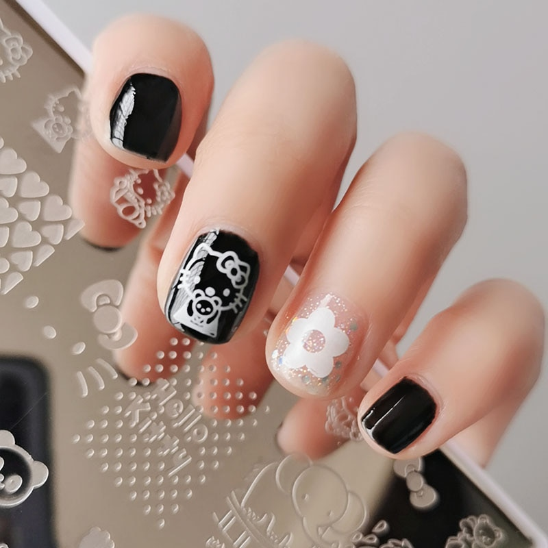 XMQ Nail Art Stamping Plates Templates Brand Flowers Stamping Image Plate Lines Nails Printing Tools 6*12cm недорого