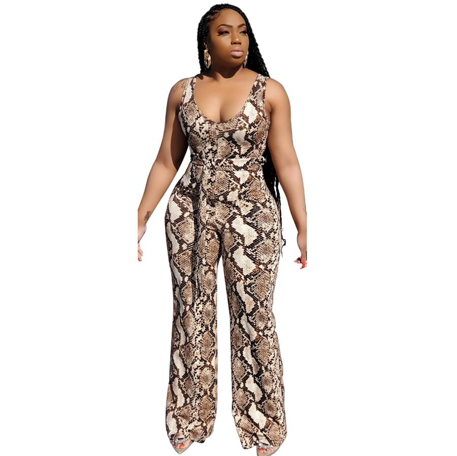 JRRY Casual Leopard Print Women Jumpsuit Sleeveless Spaghetti Strap Jumpsuits High Elasticity Sashes Wide Leg Loose Bodysuit