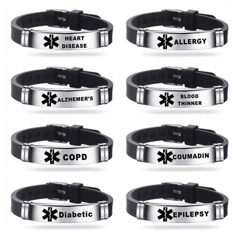 Silicone Men's Bracelet Medical Alert ICE Bangle Adjustable Length Wristband for Men Boy Emergency Type 1 Diabetes Jewelry