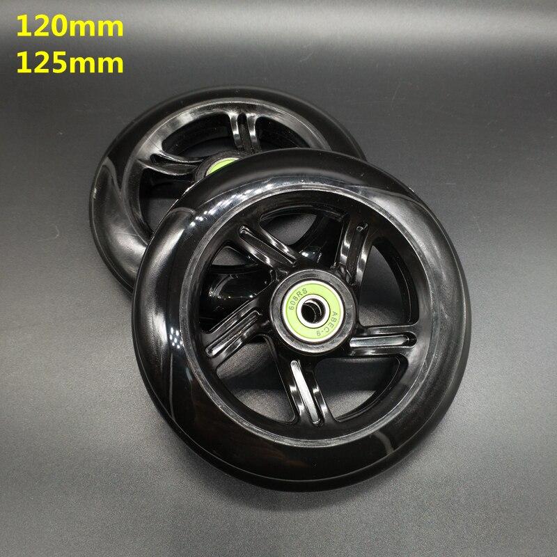 Envío gratis de rueda de scooter de negro de 125 mm 120 mm 2 unids/lote rodamientos abec-7 abec-9
