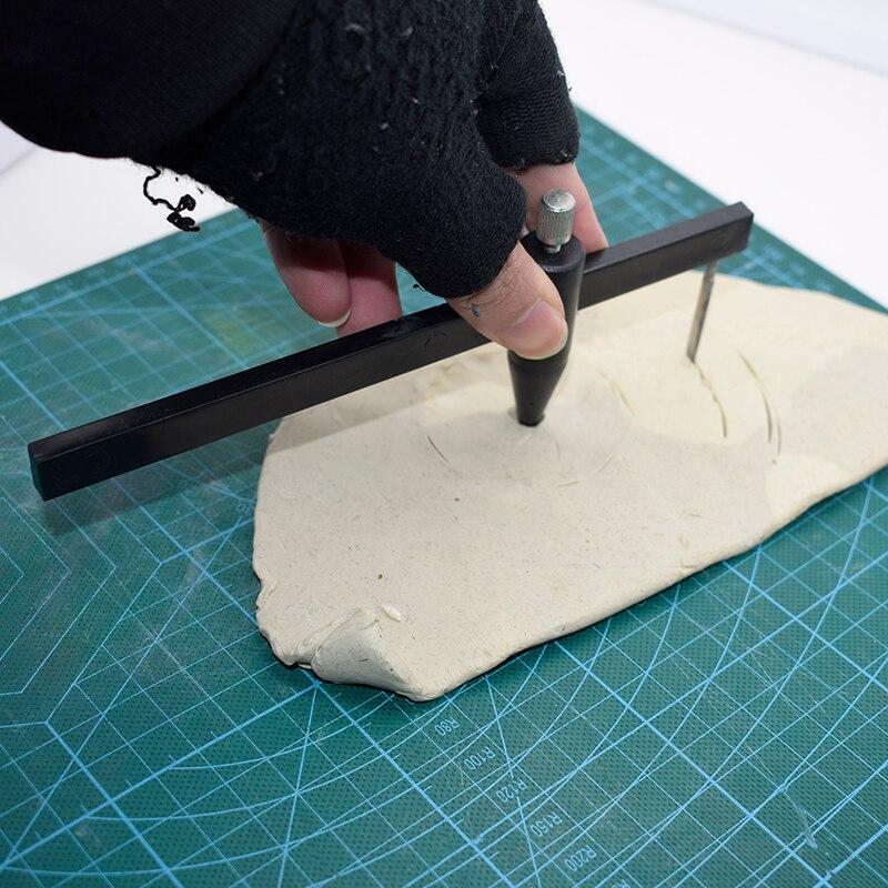Cortador de círculos de brújula redonda de calibre redondo de losa de Herramientas de alfarería 1-34cm arcilla polimérica cerámica herramientas artesanales