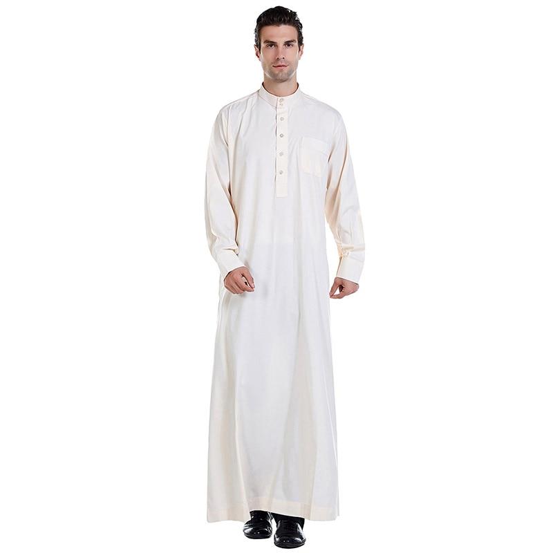 Greek Muslim Men's Pocket Button Cardigan Robe Muslim Ramadan Casual Loose Men's Long Skirt Islamic Indo-Pakistani Prayer Dress