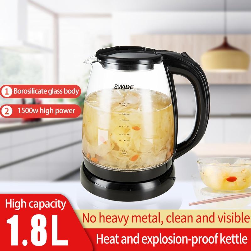 Портативный электрический чайник, 1800 мл, стеклянная чашка, для приготовления чая, кофе, путешествий, отелей, семьи, чайник для кипячения воды...