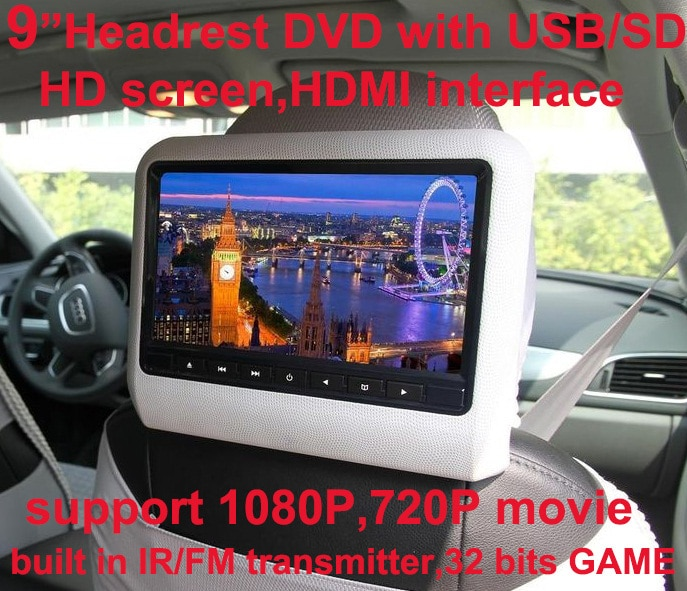 Free shipping 9 inch car headrest DVD player with USB/SD,Bracket,HDMI,32 bits Game,IR,FM transmitter,HD screen,built in speaker 9 car headrest dvd video multimedia player monitor entertainment with usb sd game ir fm transmitter hd screen built in speaker