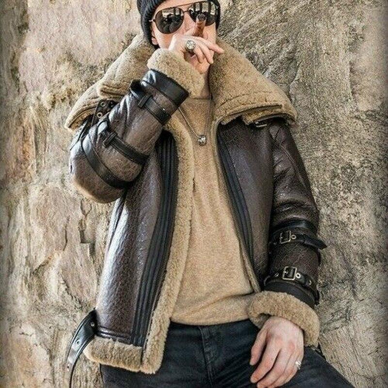 Luxury Men Shearling Real Fur Jacket Biker Sheepskin Leather Coat Lining Jacket Men Clothing Winter Outwear Overcoat