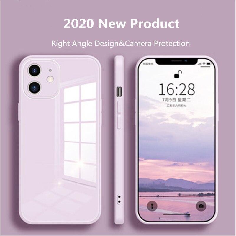 Funda protectora de cristal líquido para iPhone, carcasa trasera colorida resistente a los arañazos para iPhone 12 11 Pro XS Max X XR 6 6s 7 8 Plus SE2 2020