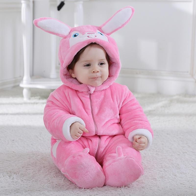 Thickening Kigurumis Baby Clothes Winter Onesie Animal Rabbit Bunny Pajama Cute Kawaii Jumpsuit Girls Romper Children SuitOutfit
