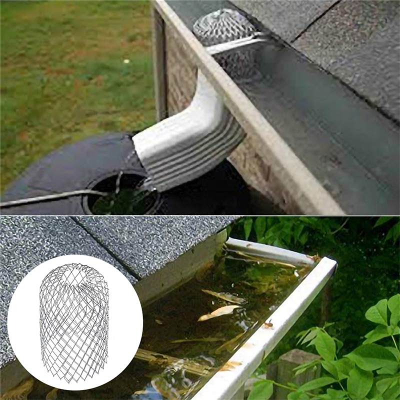 Roof Gutter Guard Filters 3 Inch Expand Aluminum Filter Strainer Stops Blockage Leaf Drains Debris Drain Net Cover