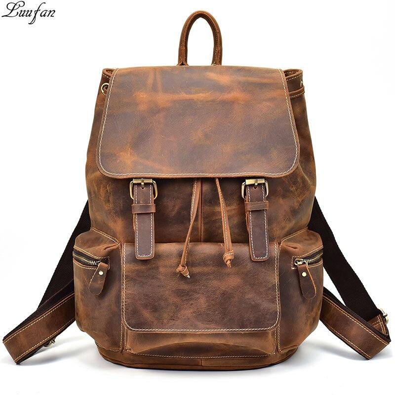حقيبة ظهر جلدية كريزي هورس كلاسيكية للرجال والنساء ، حقيبة كمبيوتر محمول للجنسين من جلد البقر مقاس 14 بوصة ، سميكة ، حقيبة مدرسية غير رسمية