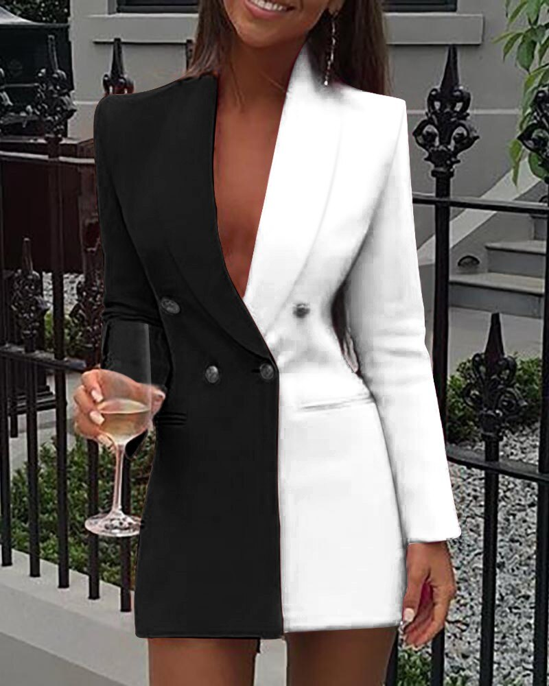Frauen Büro Kleid Colorblock Patchwork Langarm Blazer Kleid Sexy Tiefe V Hals Taste Design Casual Mini Kleid Arbeitskleidung