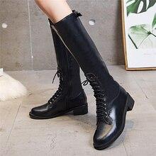 Botas Mujer Retro Lace-Up Zipper Over-the-Knee Boots Para Femme Winter Plus Size Leather Bota Feminina Impermeavel Women #5