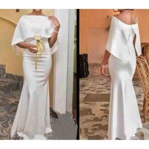 Evening Dresses With Cape 2021 Vestido De Festa White Evening Dress Elegant Long robe de soiree African Party Gowns Evening