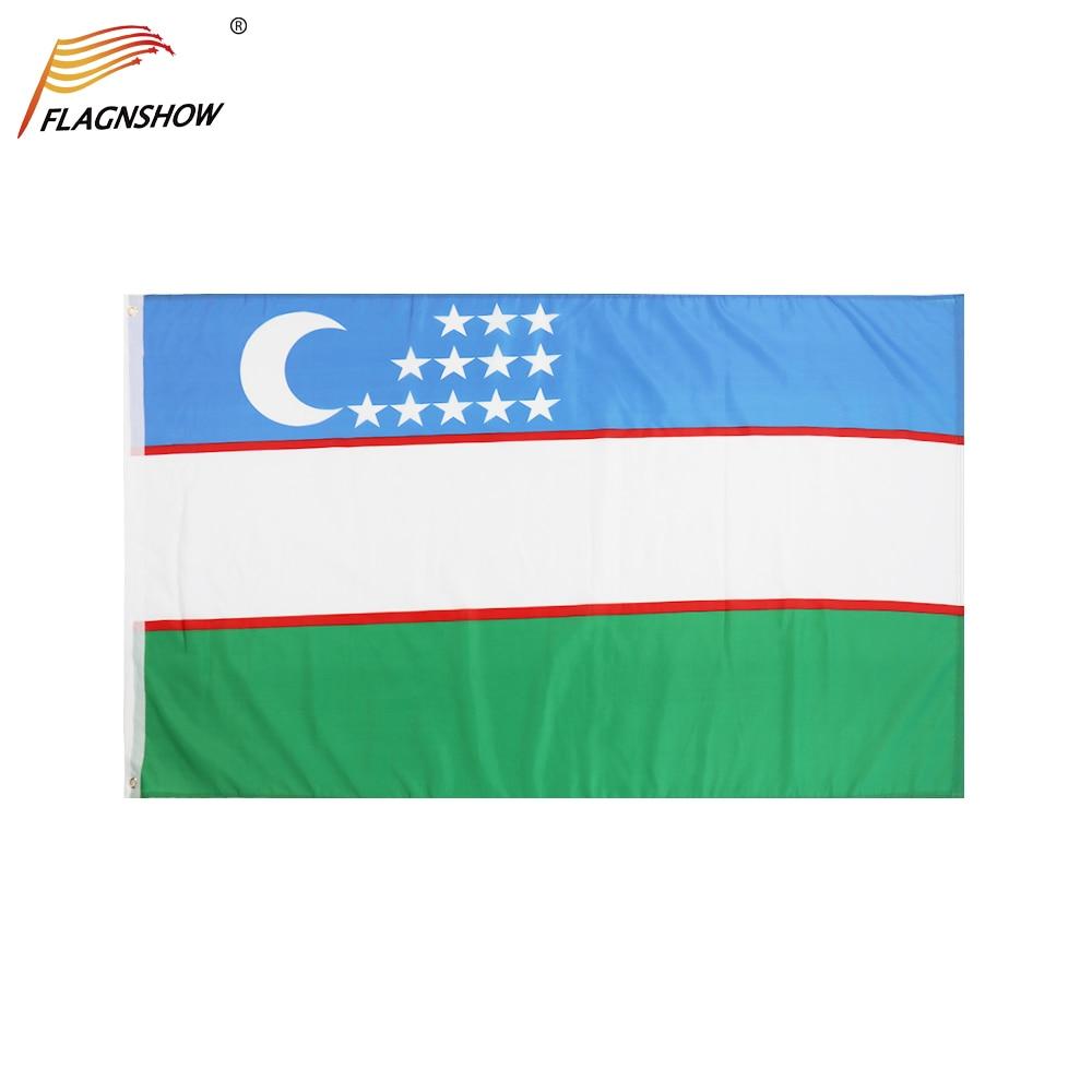 Флаги Flagnshow флаг Узбекистана 3X5 FT, подвесные полиэфирные национальные флаги с латунными Люверсами