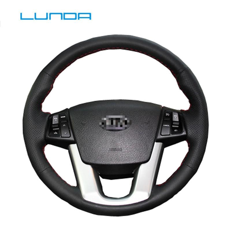 LUNDA Schwarz Leder Auto Lenkrad Abdeckung für Kia Sorento Kia Cadenza K7 spezielle hand-genäht lenkrad abdeckung
