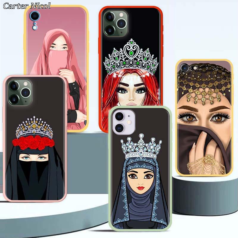Funda de teléfono de lujo para mujer en Hijab Face para iPhone 7 8 SE 2020 11 Pro XR X XS MAX 7 + 8 + 6 6s Plus suave funda de silicona
