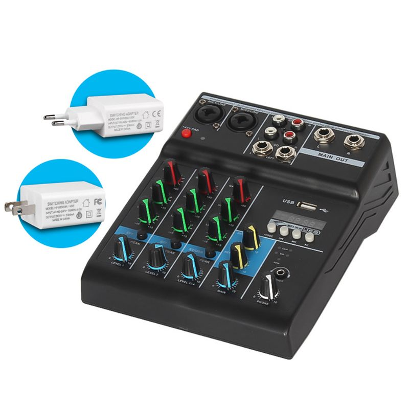 Professional Audio Mixer 4 Channels Bluetooth Sound Mixing Console for Home Karaoke KTV with USB Sound Card Sound Effects enlarge