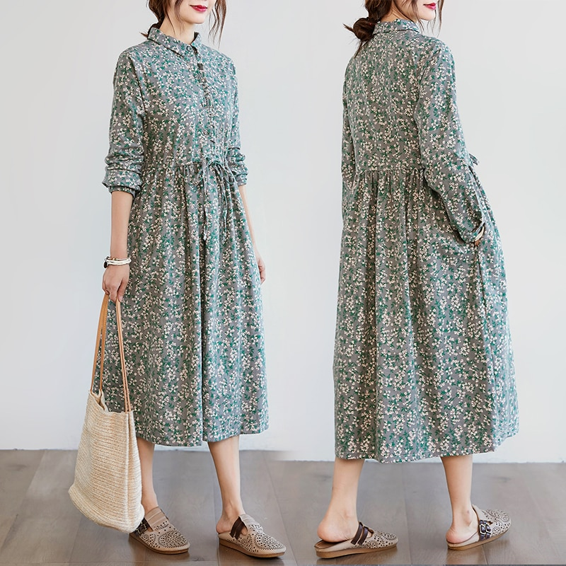 Autumn Artistic Retro Cotton and Linen Floral Long-Sleeved Dress Waist-Controlled Lace-up Slimming Y