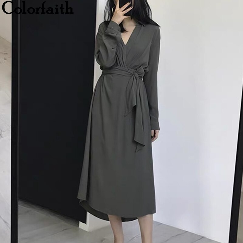 Colorfaith nuevo 2019 Otoño Invierno mujeres vestidos de manga larga fajas de encaje cuello en V pradera Chic elegante Midi sólido femenino DR7097