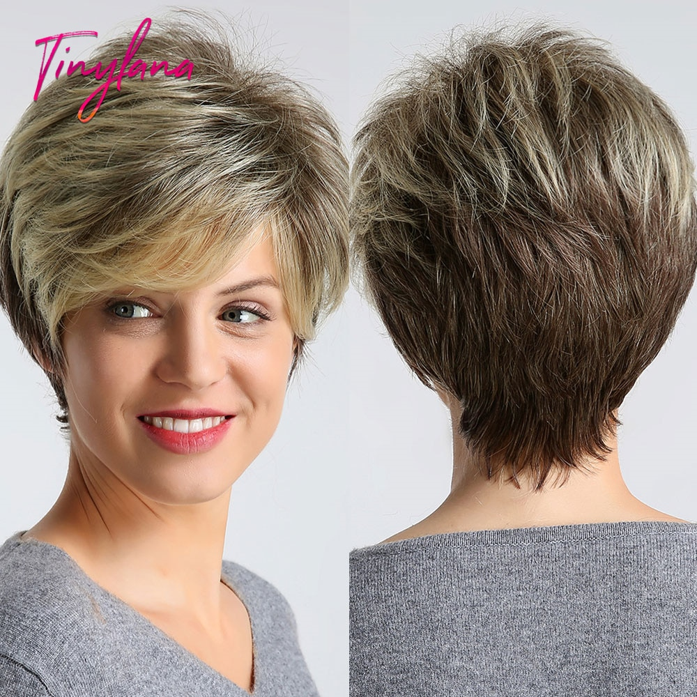 TINY LANA Ombre Ash Brown Blonde Wigs Cut Straight Synthetic Wig with Side Bangs Short Bob Wigs for Black Women Heat Resiatant