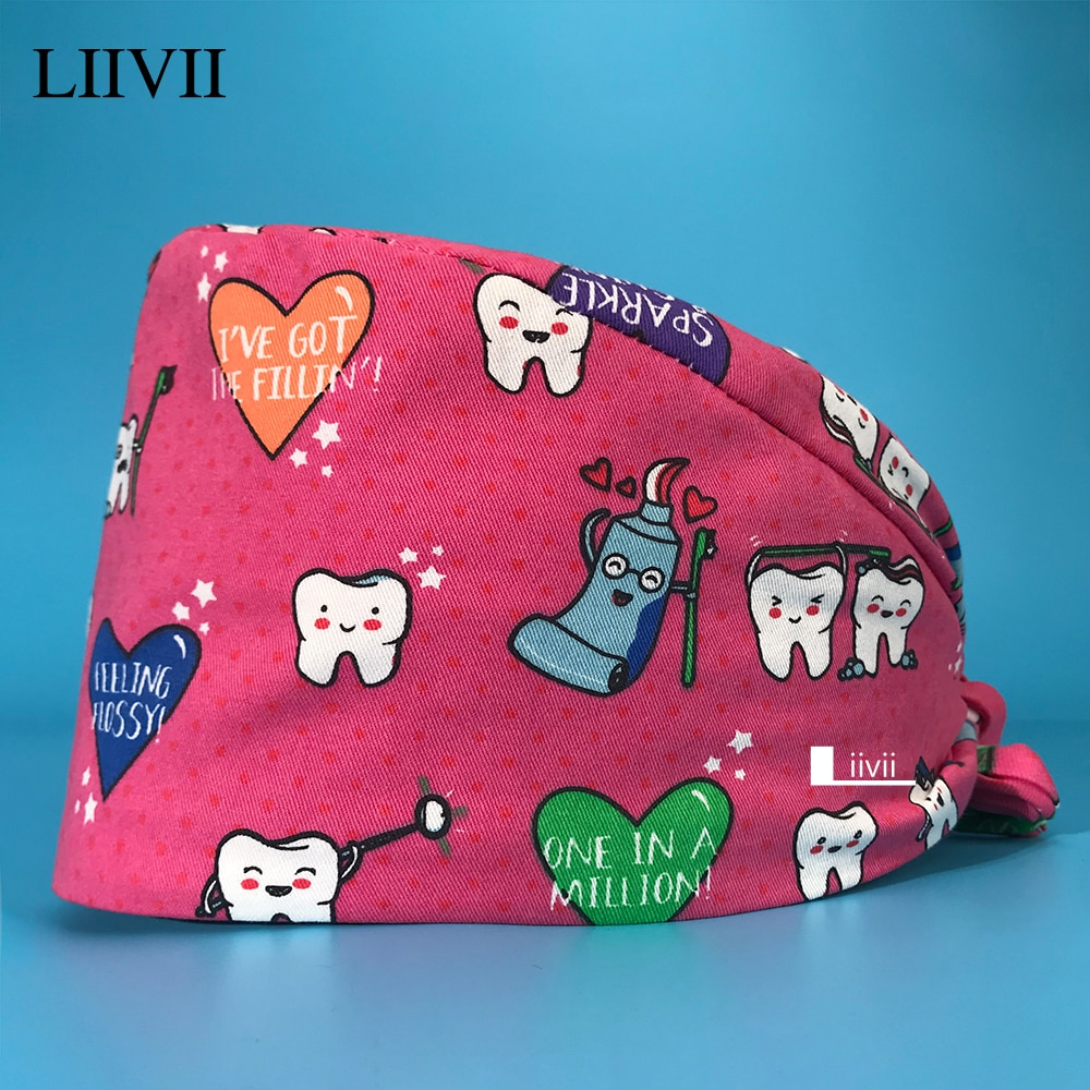 New Personalized Tooth Printing Scrub Hat Health Service Working Hat Beauty Cap Practical Work Scrub