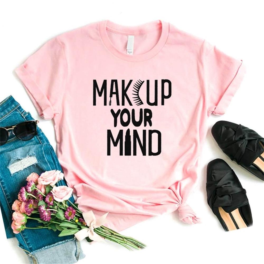 Women T Shirt Makeup Your Mind Eyelash Print Tshirt Women Short Sleeve O Neck T-shirt Ladies Causal Tee Shirt Tops TX5752 недорого