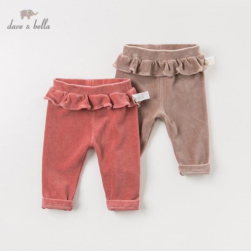 DB12079 David bella otoño bebé niñas moda ruched sólido pantalones niños de longitud completa niños mallas infantes Pantalones