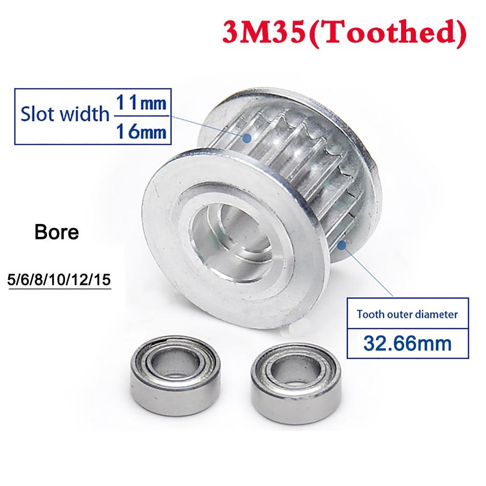 1Pcs 3M 35 Zahn 36 Zahn Idler Zahnriemen Pulley Doppel Seite Lager Synchron Rad Breite 11mm 16mm Bohrung 5-15mm