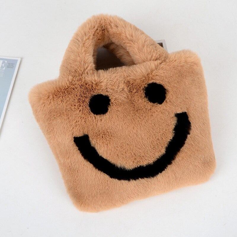 Fluffy Rabbit Fur Smile Bag Handbags For Women Cute Girls Plush Fur Smiley Love Handbags Bag Female Party Girlfriend Gift