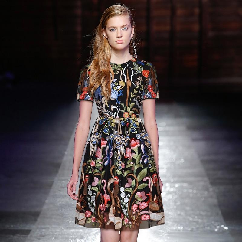 Gedivoen Summer Fashion Vintage Short Dress Women Short Sleevs Mesh Animal Plant Embroidery Pleated A-Line Mini Dresses